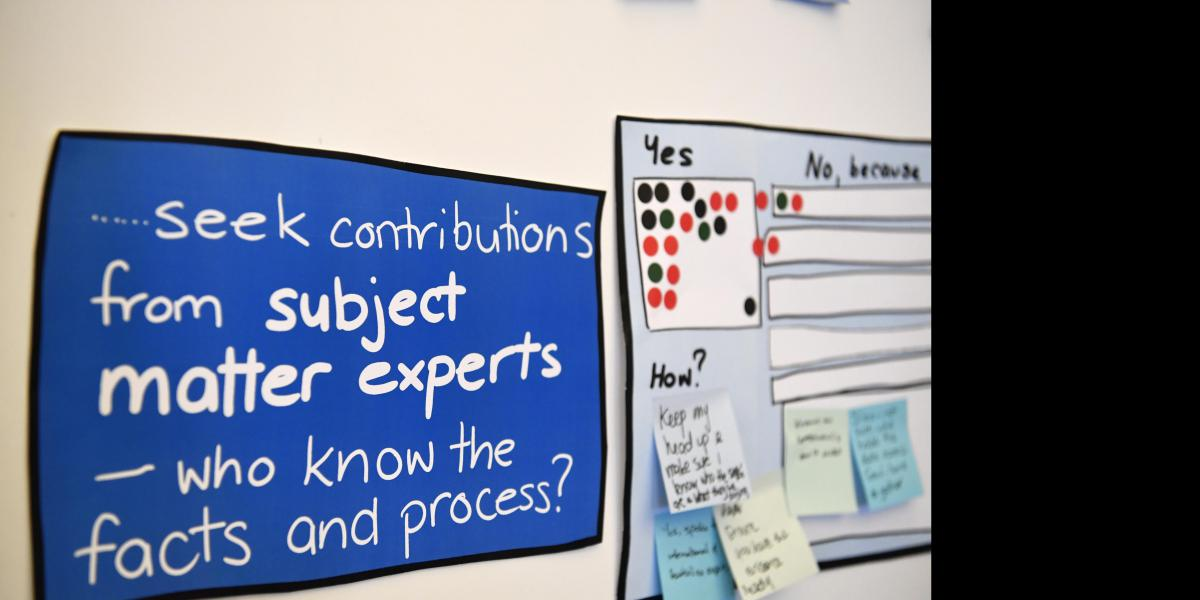 "Photo of text ""...seek contributions from subject matter experts - who knows the facts and process?"""